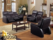 Vig Vg2T0209B New Black Genuine Leather Sofa Set With Recliners