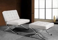 "VIG Furniture VG2T0364-WHT 0364 - Modern White Leather ""X"" Leg Chair & Ottoman Lounge Set"