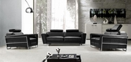Vig Vg2T0658B Addison-Modern Black Leather Sofa Set