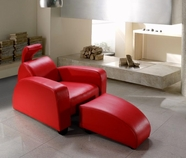 VIG Furniture VG2T0674 Divani Casa Rosso - Modern Leather Lounge Chair & Ottoman