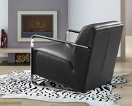 VIG Furniture VG2T0729-BLK 0729 - Modern Black Bonded Leather Lounge Chair