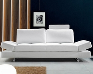 VIG Furniture VG2T0837 Hymn - Modern White Leather Sofa with Adjustable Backrest