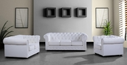 Vig Vg2T2371 Paris 3 Modern White Leather Sofa Set