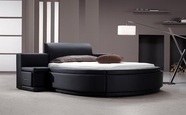 VIG Furniture VG2TAU01-15 Owen - Black Leather Round Bed with Storage