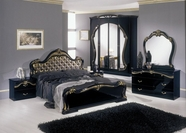 VIG Furniture VGACCJUDY-FA Judy - Italian Classic Black Bedroom Set (Gold Fabric Headboard)