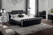 VIG Furniture VGBN-5824 Retro - Contemporary Black Tufted Leatherette Bed