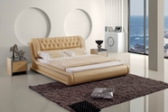 VIG Furniture VGBN5819 Contemporary Tufted Beige Leatherette Bed
