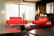 Vig Vgca120 120-Modern Red Leather Sofa And Love Seat