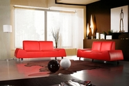Vig Vgca120-5 Bella Italia Leather 120 Sofa Set In Red