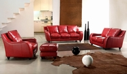Vig Vgca2540-Red Full Leather Bremen Red Sofa Set