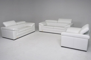 Vig Vgdisamoa-Set-Wht Samoa-Contemporary Full Italian Leather Sofa Set