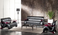 Vig Vgdm2033-Bnd-Blk 2033-Black Modern Bonded Leather Sofa Set