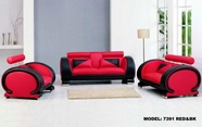 Vig Vgev-Sp-7391R 7391-Modern Bonded Leather Sofa Set