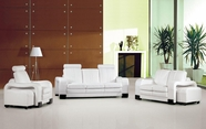 Vig Vgev3339-Wht 3339-White Leather Sofa Set With Detachable End-Tables