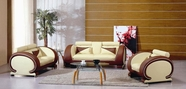 Vig 7391 Beige/Dark Brown Leather Sofa Set