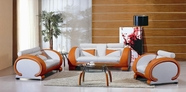 VIG Furniture VGEV7391-ORG-WHT-3-Set 7391 Orange and White Sofa Set