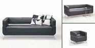 Vig Vgfif51 F51 Contemporary Black Leather Sofa Set