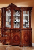 VIG Furniture VGFMREGINA-4DR-CHINA-WAL Regina Traditional Walnut 4 Door China Cabinet