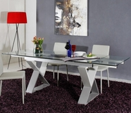 VIG Furniture VGGU2361XT-6 2361XT - Modern Grey Metal Frame Dining Table