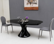 VIG Furniture VGGU2609XT-5-Black Savor Modern Round Extend-able Black Lacquer Dining Table