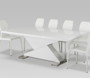 VIG Furniture VGGUBONO-HY142CH-WHT BonoZModern White Leather Chair Dining Set