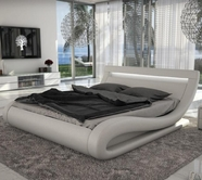 VIG Furniture VGINCORSICA Corsica - Contemporary White Leatherette Bed with Headboard lights