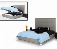 VIG Furniture VGJYMESSINA Messina - Modern Grey Eco Leather Bed with Lift Storage