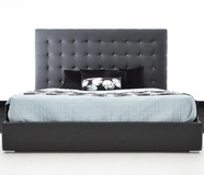 VIG Furniture VGKCLYRICABLK Lyrica Black Leatherette Tall Headboard Bed