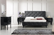VIG Furniture VGKCMONTEBLK Monte Carlo Black Leatherette-Modern-Bed-with-Crystals-Dresser-Mirror Bedroom Set