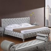 VIG Furniture VGKCMONTEPLATINUM Monte Carlo Platinum Edition Silver Modern Bed with Crystals