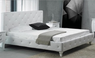 VIG Furniture VGKCMONTEWHT Monte Carlo Leatherette Modern Bed with Crystals