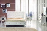 VIG Furniture VGKCMONTEWHT Monte Carlo White-Leatherette-Modern-Full-Bed-with-Crystals-Dresser-Mirror Bedroom Set