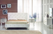VIG Furniture VGKCMONTEWHT Monte Carlo White-Leatherette-Modern-Twin-Bed-with-Crystals-Dresser-Mirror Bedroom Set