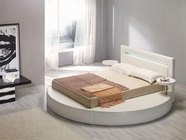 VIG Furniture VGKCPALAZZOWHT Palazzo White Leatherette Round Platform Bed