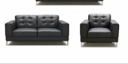 Vig Vgkk1365-Blk Larkspur-Modern Black Bonded Leather Sofa Set