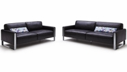 Vig Vgkk1503-Hl Modern Black Leather Sofa Set