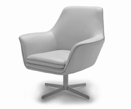 VIG Furniture VGKKA-832GRY Divani Casa A-832 - Modern Leather Swivel Lounge Chair