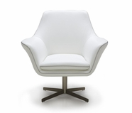 VIG Furniture VGKKA-832WHT Divani Casa A-832 - Modern Leather Swivel Lounge Chair