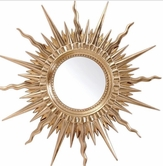 VIG Furniture VGLEPU063 PU063 - Transitional Gold Round Mirror