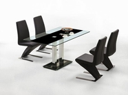 VIG Furniture VGLET011-T011-VGLEY034-BLK-Y034 Saturn Black-Contemporary-Glass-table-Modern-Dining-Chair Dining Set