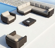 VIG Furniture VGMNREVIERA Reviera - Sectional, Two Chairs and Coffee Table Patio Set