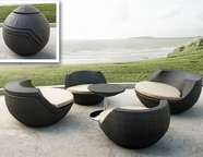 VIG Furniture VGMNRM-7654-BRN Ovum - Modern Brown 5 Piece Egg Shaped Patio Set