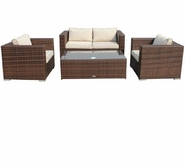 VIG Furniture VGUBASCOT Ascot - Sofa, Two Chairs, 2 Pull out Ot- tomans, and Coffee Table Patio Set