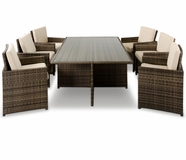VIG Furniture VGUBBARCELONA-RECT Barcelona - Rectangular Compact Table, 6 Fold-out Chairs, and 6 Individual Ottoman Patio Set