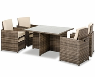 VIG Furniture VGUBBARCELONA-SQ Barcelona - Square Compact Table, 4 Fold-out Chairs, and 4 Individual Ottoman Patio Set