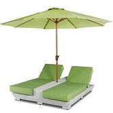 VIG Furniture VGUBGEMINI Gemini - Two Lounge Chair Built-in Base and Umbrella Patio Set
