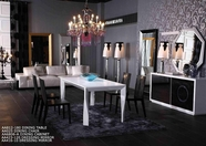 Vig Vgunaa812-180-025 Modern Armani White-Lacquer-Table-Black-Chair Dining Set