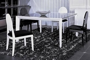 VIG Furniture VGUNAA816-150-018-2 Armani White-Lacquer-Table-with-Black-Glass-Top-White-Black-Chair Dining Set