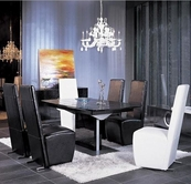VIG Furniture VGUNAA818-265BC-0020-B2 Armani Crocodile-Dining-Table-Black-Chair Dining Set