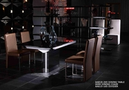 VIG Furniture VGUNAA818-265BG-0099-2 Armani Black-High-Gloss-Dining-Table-Gold-Chair Dining Set